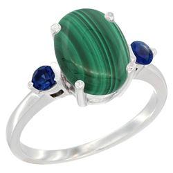 2.99 CTW Malachite & Blue Sapphire Ring 14K White Gold - REF-30V3R