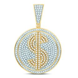 Mens Diamond Dollar Sign Circle Charm Pendant 1.00 Cttw 10kt Yellow Gold