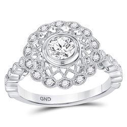 Diamond Solitaire Openwork Milgrain Bridal Wedding Engagement Ring 3/4 Cttw 14kt White Gold