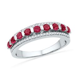 Round Lab-Created Ruby Diamond Band Ring 1.00 Cttw 10kt White Gold