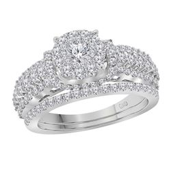Diamond Solitaire Cluster Bridal Wedding Engagement Ring Band Set 1-1/2 Cttw 14kt White Gold