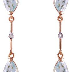 Genuine 6.01 ctw Aquamarine & Diamond Earrings 14KT Rose Gold - REF-50W2Y