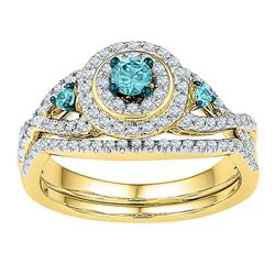 Round Blue Color Enhanced Diamond Bridal Wedding Engagement Ring Band Set 5/8 Cttw 10kt Yellow Gold
