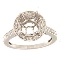 0.63 CTW Diamond Semi Mount Ring 14K White Gold - REF-70H7M