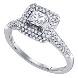 Diamond Solitaire Halo Bridal Wedding Engagement Ring 3/8 Cttw 14kt White Gold