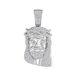 Mens Diamond Jesus Head Messiah Charm Pendant 1-1/5 Cttw 10kt White Gold
