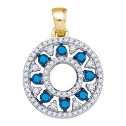 Round Blue Color Enhanced Diamond Circle Cutout Pendant 1/2 Cttw 10kt Yellow Gold