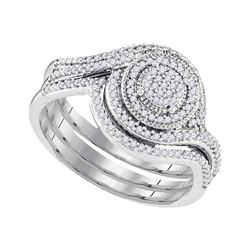 Diamond Circle Cluter Bridal Wedding Engagement Ring Band Set 1/3 Cttw 10kt White Gold