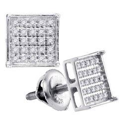 Unisex Diamond Square Cluster Stud Earrings 1/6 Cttw 14kt White Gold