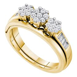 Diamond Triple Cluster Bridal Wedding Engagement Ring Band Set 1/2 Cttw 14kt Yellow Gold