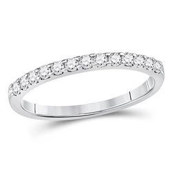 Diamond Single Row Machine-set Wedding Band 1/4 Cttw 14kt White Gold