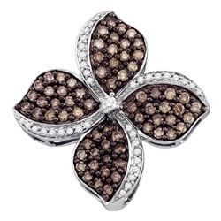 Round Brown Diamond Flower Cluster Pendant 1.00 Cttw 10kt White Gold