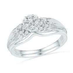 Diamond Cluster Bridal Wedding Engagement Ring Band Set 1/3 Cttw 10k White Gold