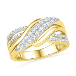 Diamond Crossover Band Ring 1/2 Cttw 10kt Yellow Gold