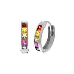 Genuine 1.30 ctw Multi-Color Sapphire Earrings 14KT White Gold - REF-42X6M