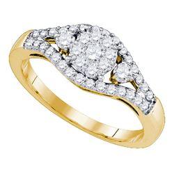Diamond Flower Cluster Ring 5/8 Cttw 10kt Yellow Gold