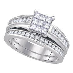 Diamond Cluster Bridal Wedding Engagement Ring Band Set 1.00 Cttw 14kt White Gold