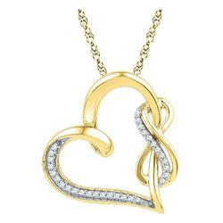 Diamond Linked Heart Infinity Pendant 1/8 Cttw 10kt Yellow Gold