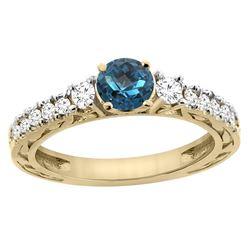 1.35 CTW London Blue Topaz & Diamond Ring 14K Yellow Gold - REF-79V6R