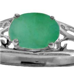 Genuine 1.15 ctw Emerald Ring 14KT White Gold - REF-39F3Z