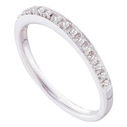 Round Prong-set Diamond Slender Band 1/8 Cttw 14kt White Gold