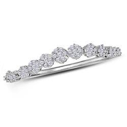 Diamond Flower Cluster Bangle Bracelet 2-5/8 Cttw 14kt White Gold
