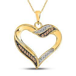 Round Brown Diamond Heart Pendant 1/10 Cttw 10kt Yellow Gold