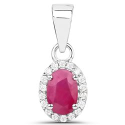 0.65 ctw Ruby & White Diamond Pendant 14K White Gold - REF-22X2Y