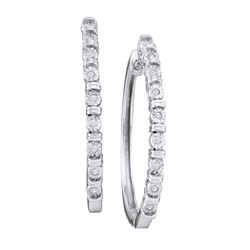 Diamond Single Row Hoop Earrings 1/20 Cttw 10kt White Gold