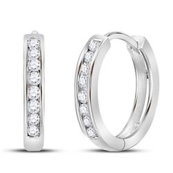 Diamond Channel Set Hoop Earrings 1/4 Cttw 14kt White Gold