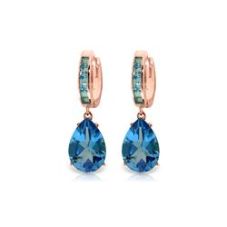 Genuine 13.2 ctw Blue Topaz Earrings 14KT Rose Gold - REF-68W7Y