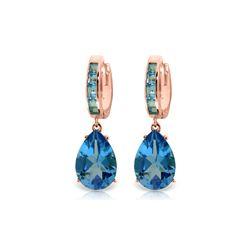 Genuine 13.2 ctw Blue Topaz Earrings 14KT Rose Gold - REF-68W7Y
