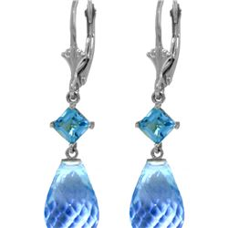Genuine 11 ctw Blue Topaz Earrings 14KT White Gold - REF-39W3Y