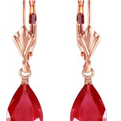 Genuine 3.5 ctw Ruby Earrings 14KT Rose Gold - REF-38Z6N