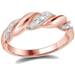 Diamond Milgrain Crossover Band Ring 1/20 Cttw 14kt Rose Gold