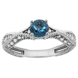 0.81 CTW London Blue Topaz & Diamond Ring 14K White Gold - REF-67N9Y