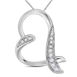 Diamond Heart Pendant 1/20 Cttw 10kt White Gold