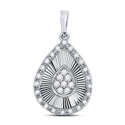 Diamond Teardrop Pendant 1/6 Cttw 10kt White Gold