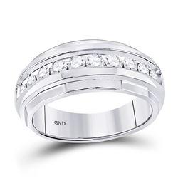 Mens Diamond Wedding Band Ring 1.00 Cttw 10kt White Gold