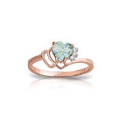Genuine 0.97 ctw Aquamarine & Diamond Ring 14KT Rose Gold - REF-32A3K