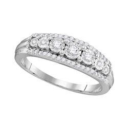 Diamond Triple Row Band Ring 1/4 Cttw 10kt White Gold