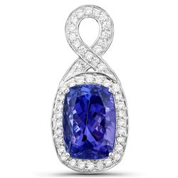 8.07 ctw Tanzanite & Diamond Pendant 14K White Gold - REF-653Y2N