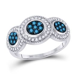 Round Blue Color Enhanced Diamond Cluster Ring 1/2 Cttw 10kt White Gold