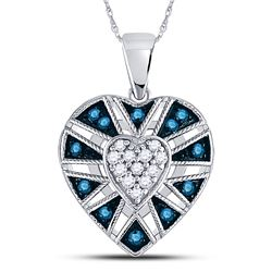 Round Blue Color Enhanced Diamond Milgrain Heart Cluster Pendant 1/4 Cttw 10kt White Gold