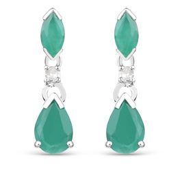 1.03 ctw Emerald & Diamond Earrings 10K White Gold - REF-15T4X
