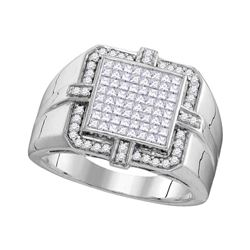 Mens Diamond Square Frame Cluster Ring 1.00 Cttw 10kt White Gold