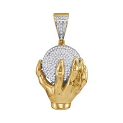 Mens Diamond Hand World Cluster Charm Pendant 3/4 Cttw 10kt Yellow Gold