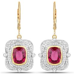 4.4 ctw Rubellite & Diamond Earrings 14K Yellow Gold - REF-325X2Y