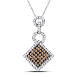 Round Brown Diamond Diagonal Square Pendant 1/3 Cttw 10kt White Gold