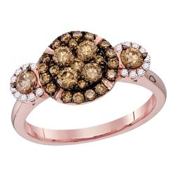 Round Brown Diamond Circle Frame Cluster Bridal Wedding Engagement Ring 1.00 Cttw 14kt Rose Gold